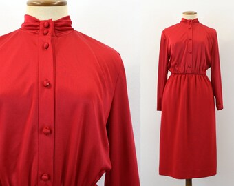 1980s Secretary Day Dress RED Office Shirtdress Straight Skirt High Waist Choker Neck Boho Knee Button Up Bodice Long Sleeve Retro Small S