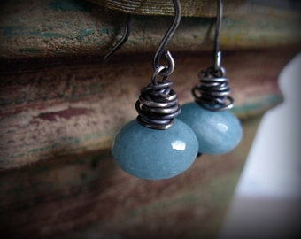 Earrings Blue Quartz Wire Wrapped Sterling Silver Dangle Drop #1066