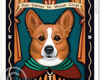 8x10 Welsh Corgi Art - Patron Saint of Royalty - Art print by Krista Brooks