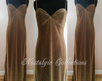 SALE /// Vintage Gold Slip Dress copper Bombshell Evening Gown designer Metallic Wiggle Dress size 2 to 4 Small
