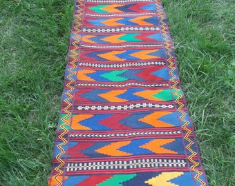 "Very bright colours, 8 ft 7 x 2 ft 3"" Long Runner  hand woven Rug/Kilim  Handspun wool. Tapis"