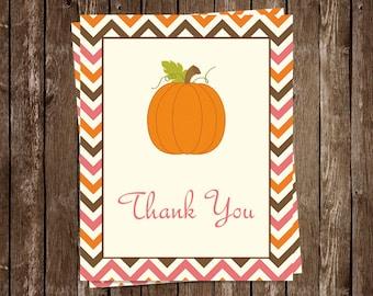 Pumpkin Thank You Cards, Girls, Baby Shower, Birthday, Pink, Stripes, Orange, Set of 24 Folding Notes, LPKPK, Little Chevron Pumpkin Girl