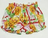 High Waisted Sunflower Shorts -Baby Toddler Girls Bloomers Shorties - Summer, Birthday Pics, Beach, Birthday Gift- Red Crop Top Available