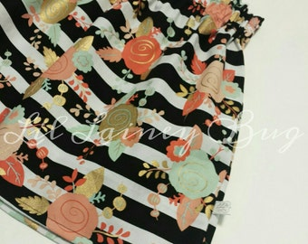 BUY 2 GET 1 FREE -High Waist Black White Stripes Gold Mint Coral Floral Skirt -Baby Toddler Girl -Mod Trendy -Fall Winter Holiday Christmas