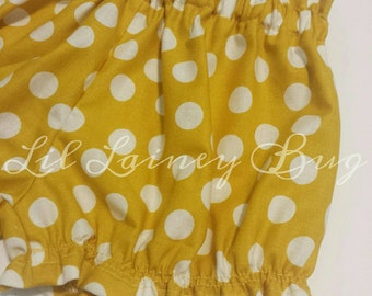 High Waisted Shorts -Baby Toddler Girls Bloomers Shorties - Classic - Fall Winter- Mustard Polka Dot - Goes with Everything