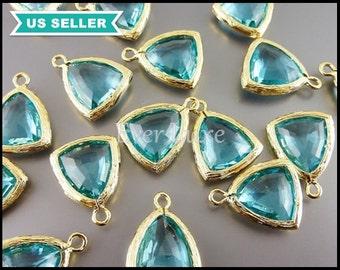 2 aqua blue / aquamarine blue triangle shaped glass charms, sea glass beads, gold glass pendants 5076G-AQ