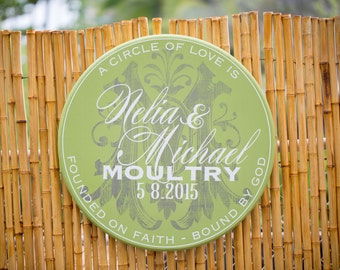 "24"" Round Personalized Wedding Couple Signage - A circle of love never ends"