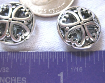 Hearts Round circle Spacer Bead Tibetan Silver Jewelry Supply 2 pieces