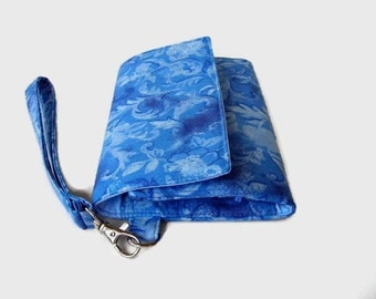 Denim Blue Cushioned Phone Wristlet Wallet - Womens' iPhone Wallet - Blue Smartphone Wristlet - Trifold Wallet - Blue Phone Clutch