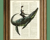 Elvis Presley riding a sea dinosaur beautifully upcycled dictionary page book art print