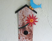 Recycled Metal Wall Art Bird House Garden Stake Sculpture Bluebird Orange Flower Folk Art Rustic Wall Decor Yard Art Bird house