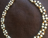 RESERVED LISTING- Beaded necklace with white glass Pearl, brown faceted tiger eye and red tiger stones with earrings