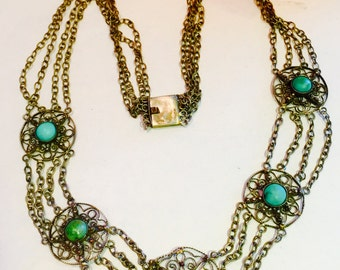 Stunning Art Deco Old Chinese Silver Green Turquoise Filigree Vintage Antique Necklace