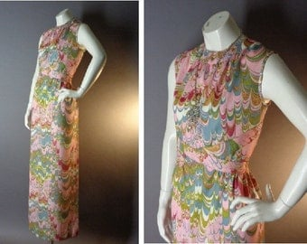 60s dress 1960s 1970s vintage PINK SWIRLS marbled book endpapers print mod maxi dress
