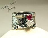 Rough Diamond Mermaid Wedding Ring, Vintage Floral Bridal Set, Sterling Silver Alternative Wedding Ring
