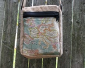 Hemp small shoulder bag world Map Europe and Middle East 2 zippers