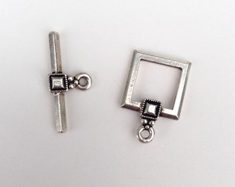 Square Sterling Silver Toggle Clasp with Detail