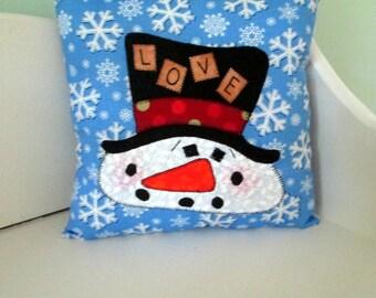 Winter Snowman Pillow, Holiday Decor, Appliqued Snowman Pillow, Snowman Shelf Sitter, Snowman Pillow Tuck, Snowman Ornie