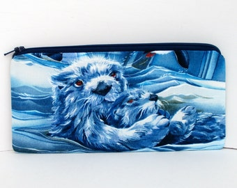 Sea Otters in the Wild, Long Zippered Pencil Pouch