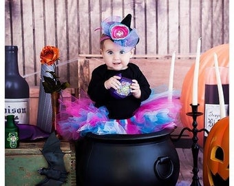 Baby Girl Costumes | Witch Costumes | Halloween Costume Baby Girl | Baby Halloween Costume | Pink Witch Tutu Costume | Mini Witch Hat