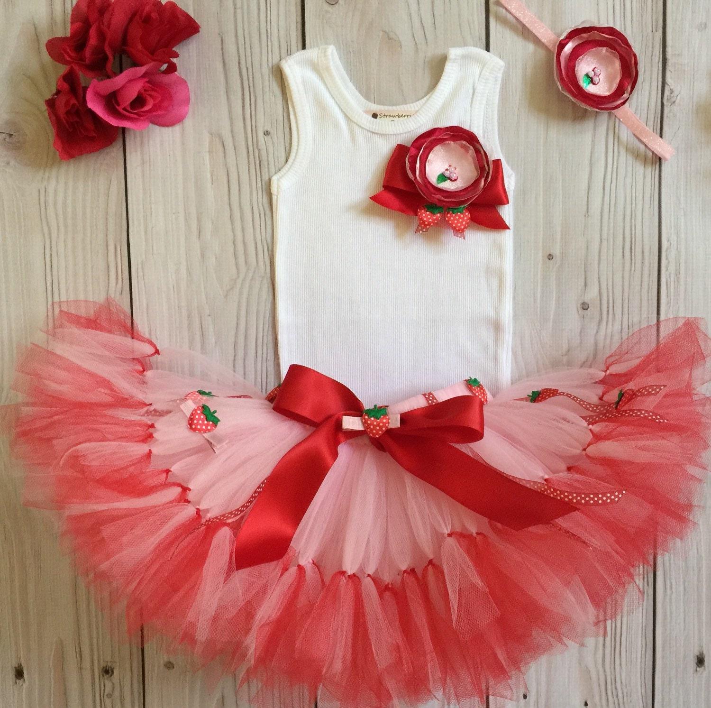 Strawberry Shortcake Birthday Tutu Dress Outfit 1st Birthday Cake