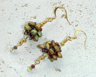 Dangle Beaded Earrings in Earth Tones With Gold Plated Ear Wires