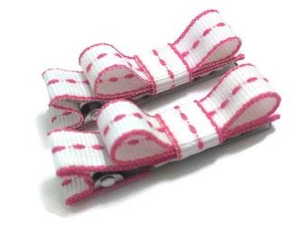 Pink & White Handmade Hair Bow Clip Set, Tuxedo Bow Clip Set, Basic Bow Set, Mini Hair Bow Set, Simple Hair Bow Clip Set