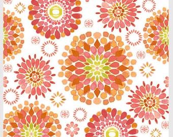 Kaleidoscope Fabric,  1 Yard, Red, Orange, White, Island Breeze Fab., P&B Fabrics, by Lauren McMullen, ISLA 862, Pinks, Oranges, Greens