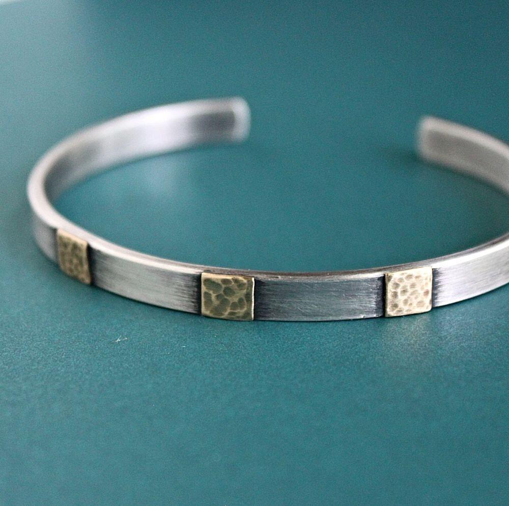 Men's Cuff Bracelet Sterling Silver and Brass