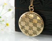 Gold Antique Locket | Edwardian Locket | Round Gold Filled Vintage Photo Locket | Japanese Aesthetic Design - 20 Inch Chain Included