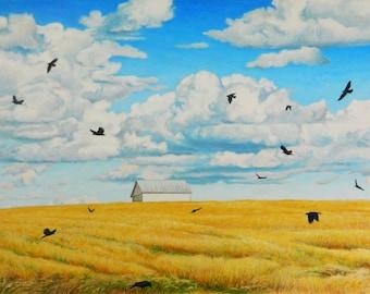 "Art Original Large Landscape Oil Painting Minimalist Golden Field Sky Cloud Bird Crow Quebec Canada Jacques Audet "" Completely Aerobatics """