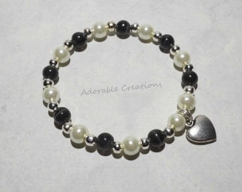 White Pearl & Black Heart Bracelet
