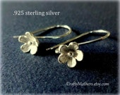 ONE Pair Bali Sterling Silver Large Flower Ear Wires (2 pcs), 25mm x 15mm, artisan-made supplies, bridal, earrings