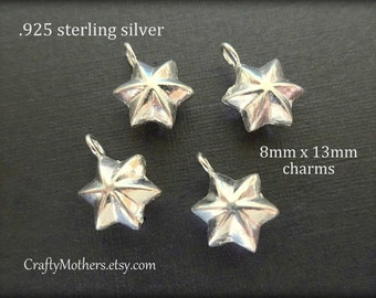 Use TAKE10 for 10% off! TWO Bali Sterling Silver Star Charms, 13 x 8mm, artisan-made supply, solid .925 sterling, earrings, necklace