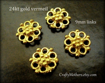 Use TAKE10 for 10% off! 2 Bali 24kt Vermeil Ornate Flower Links, 9mm, artisan-made jewelry supplies, bridal accessorie, earrings, necklace