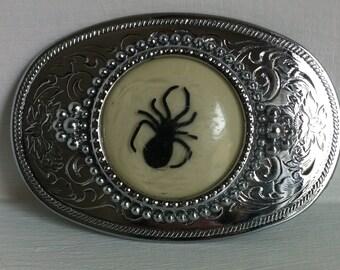 Spider Belt Buckle // Black Widow Resin Encased // Large Buckle // Taxidermy // Oddity // Creepy // Jewelry // Punk // Psychobilly // Goth