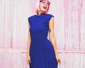 Vtg. 50s-60s Sapphire Deep Blue Checked Sleeveless Back to School Dress -- S