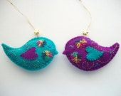 Bird Ornaments Emarald and Teal Felt Tree or Wall Hangings Hand Embroidered Handsewn