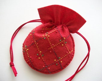 Jewelry Pouch Red Felt Gift Bag with Red and Variegated Stripes and Multicolored Seed Beads Hand Embroidered Handsewn