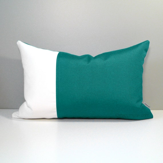 Modern Green Pillow Cover : Items similar to Teal & White Outdoor Pillow Cover, Sea Green, Modern Color Block, Decorative ...