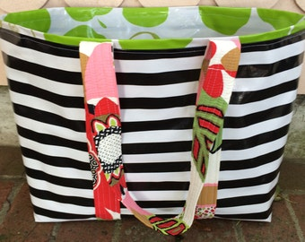 Yipes stripes funky oilcloth tote bag in black and white
