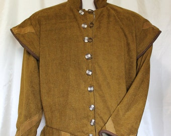 """Chest 52"""" Old Gold Tudor Renaissance Medieval Mens Lords Doublet Game of Thrones"""