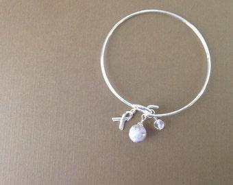 Flower Petal Awareness Bangle/ Memorial Keepsake Jewelry/ Custom