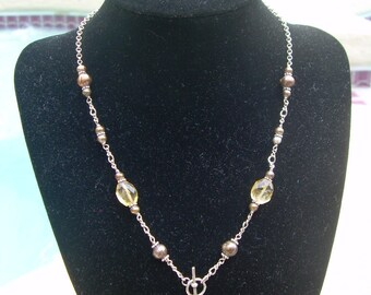 "Vintage Hand crafted designer 16"" 925 necklace with Genuine  Pearls and  Faceted Citrine stones"