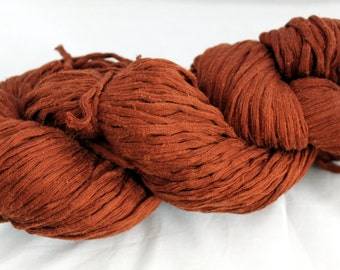 30% off STORE CLOSING SALE Nut Brown Recycled Cotton Yarn, Bulky Yarn - 217 Yards