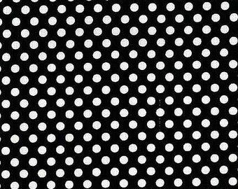 Michael Miller Fabric Polka Dot KISS 1/4 quarter inch White Dots on Black