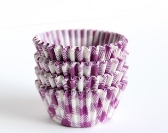 MINI Purple Gingham Cupcake Liners, Mini Purple Cupcake Liners, Mini Wedding Cupcake Liners, Mini Gingham Baking Cups (60)