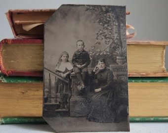 Tintype: Mother and Children, Family Portrait, Full Length Portrait, Victorian Family Portrait