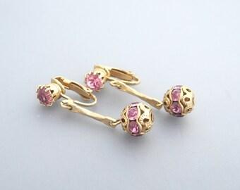 Pink Rhinestone Earrings, Pink Earrings, Pink Glass Earrings, Pink Dangle Earrings
