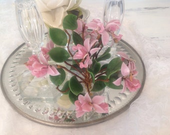 Beautiful Pink Glass Flowers Wire Wrapped Stems Glass Pot Romantic Living